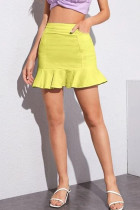 Yellow Denim Zipper Fly Mid Solid ruffle Hip skirt shorts Bottoms