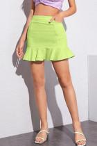 Green Denim Zipper Fly Mid Solid ruffle Hip skirt shorts Bottoms