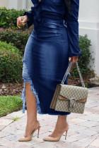 Blue Polyester Zipper Fly Mid Tassel Hip skirt Capris Bottoms