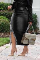 Black Polyester Zipper Fly Mid Tassel Hip skirt Capris Bottoms