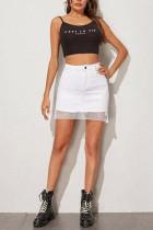White Denim Zipper Fly High Solid Hip skirt Bottoms