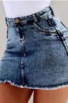 Dark Blue Denim Zipper Fly High Solid washing Old Hip skirt Bottoms