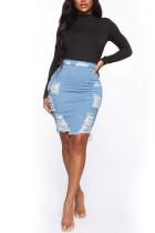 Light Blue Denim Elastic Fly High Solid Hole Hip skirt Bottoms
