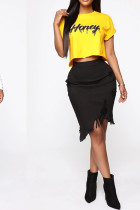Black Denim Elastic Fly High Solid Tassel Hole Asymmetrical Old Hip skirt Bottoms