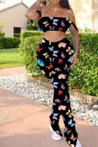 Black Polyester Sexy Print Boot Cut Sleeveless Two Pieces