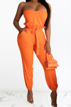 Orange Polyester Casual Patchwork Solid pencil Sleeveless Two Pieces