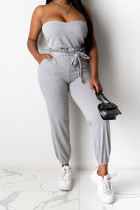 Grey Polyester Casual Patchwork Solid pencil Sleeveless Two Pieces