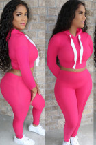 rose red Polyester Casual Solid pencil Long Sleeve Two Pieces