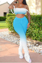 Blue Polyester Sexy Split Draped Gradient Boot Cut Sleeveless Two Pieces