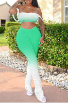 Green Polyester Sexy Split Draped Gradient Boot Cut Sleeveless Two Pieces