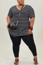 Black Milk Silk Fashion Active adult Ma'am Striped Two Piece Suits pencil Short Sleeve Two Pieces