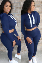 Blue Polyester Casual Solid pencil Long Sleeve Two Pieces