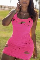 Pink Polyester Fashion Sexy adult Black Orange Tank Sleeveless Slip Hip skirt Mini Patchwork hole Solid Dresses