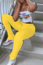 Yellow Milk Silk Elastic Fly Mid Solid Draped pencil Pants Bottoms