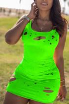 Fluorescent green Polyester Fashion Sexy adult Black Orange Tank Sleeveless Slip Hip skirt Mini Patchwork hole Solid Dresses