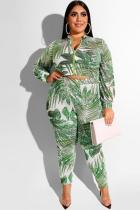 Green Polyester Sexy adult Fashion Casual O Neck Two Piece Suits Zippered Print