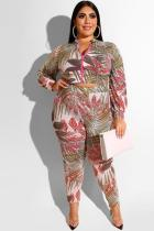 Red Polyester Sexy adult Fashion Casual O Neck Two Piece Suits Zippered Print