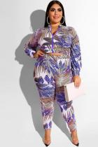 Blue Polyester Sexy adult Fashion Casual O Neck Two Piece Suits Zippered Print