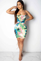 Multi-color Sexy Fashion Off The Shoulder Sleeveless Wrapped chest Step Skirt Mini Print Patchwork  Club Dresses