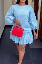 Light Blue Fashion Ma'am Ruffled Sleeve O neck A leaf skirt Knee-Length Solid ruffle Dresses