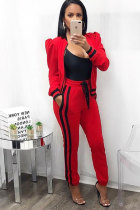 Red Elastic Fly Mid Patchwork pencil Pants  Two-piece suit