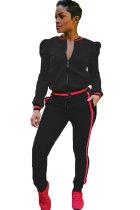 Black Elastic Fly Mid Patchwork pencil Pants  Two-piece suit