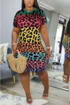 Leopard print Polyester Fashion Sexy adult Ma'am Cap Sleeve Short Sleeves O neck Step Skirt Knee-Length Leopard Dresses