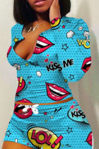 Blue Polyester Fashion adult Ma'am Sweet O Neck Print Two Piece Suits Pattern Plus Size