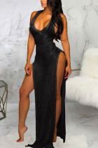 Black Polyester Patchwork Solid Asymmetrical Fashion Sexy adult Ma'am Swimwears Cover Up