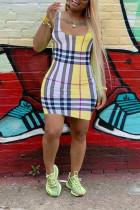 Yellow Active Tank Sleeveless Pencil Dress Mini Print Plaid Dresses