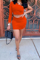 tangerine Polyester Sexy Solid Regular Two Pieces