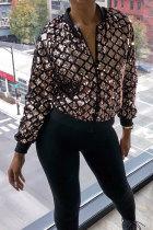 Gold O Neck Patchwork Sequin Polyester Patchwork Long Sleeve  Blazer & Suits &Jacket