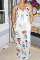 White Sexy Casual Spaghetti Strap Slip Pencil Dress Floor-Length Print Dresses