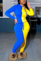 Yellow Milk Silk Fashion Active adult Ma'am Patchwork contrast color Two Piece Suits pencil Long Sleeve Two Pieces