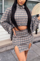 Red venetian Fashion adult Ma'am Street Plaid Print Two Piece Suits A-line skirt Long Sleeve Two Pieces