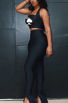 Black Polyester Casual Print Solid pencil Sleeveless Two Pieces