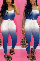 Blue venetian Fashion Casual adult Ma'am Print Gradient Two Piece Suits pencil Sleeveless Two Pieces