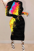 Yellow Milk Silk Fashion adult Ma'am OL Print Two Piece Suits Hip skirt Long Sleeve Two Pieces