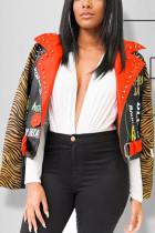 Black Turndown Collar Animal Prints Polyester Print Outerwear