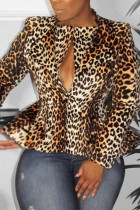 Brown Notched Leopard Polyester Others Long Sleeve Outerwear