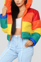 Rainbow color hooded Print Rainbow Polyester Striped Print Long Sleeve Outerwear