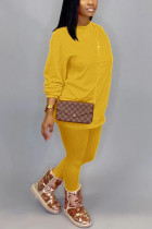 Gold Cotton OL Solid pencil Long Sleeve Two Pieces