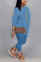 Light Blue Cotton OL Solid pencil Long Sleeve Two Pieces
