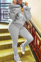 Grey Polyester Fashion adult Ma'am Street Solid backless Two Piece Suits pencil Long Sleeve Two Pieces