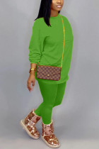 Fruit green Cotton OL Solid pencil Long Sleeve Two Pieces