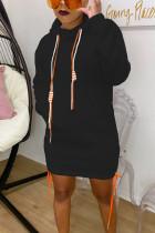 Black Cotton Fashion adult Ma'am Street Cap Sleeve Long Sleeves Hooded Step Skirt skirt Solid Dresses