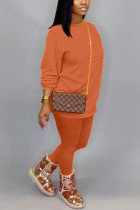 Orange Cotton OL Solid pencil Long Sleeve Two Pieces