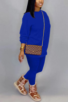 Colorful blue Cotton OL Solid pencil Long Sleeve Two Pieces