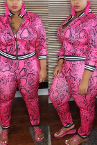Pink Polyester Fashion Casual Europe and America Turndown Collar Print Zipper Plus Size