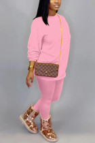 Pink Cotton OL Solid pencil Long Sleeve Two Pieces